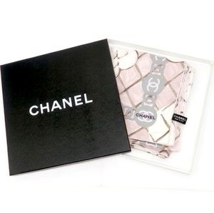 CHANEL Silk Twill Pink White Camellia Scarf Wrap